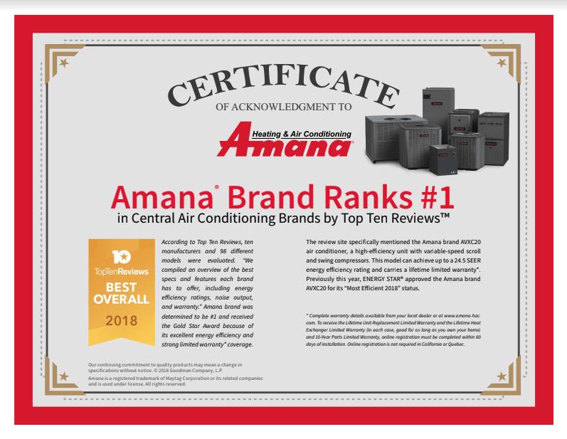 amana certificate